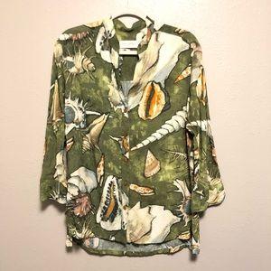 Jams World Tops - Jams world 3/4 sleeve seashell popover blouse